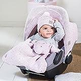 Jollein 025-811-65140 Fußsack für Babyschale Confetti Strick vintage rosa