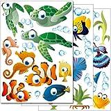 Set de stickers muraux Wandkings 'Le monde sous-marin de l'océan' Kit d'autocollants - plus de 45 motifs autocollants sur 3 planches DIN A4