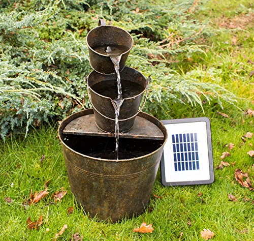 Merveilleux Small Solar Powered Water Feature Zinc Bucket With Cascade PC252