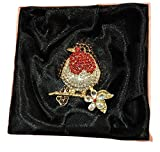New In organza Gift bag Ladies Womens Stunning Robin Red Breast Christmas Festive Diamante Brooch Pin badge Accessorize-me xmas