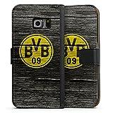 DeinDesign Samsung Galaxy S6 Edge Tasche Leder Flip Case Hülle Borussia Dortmund BVB Holzoptik
