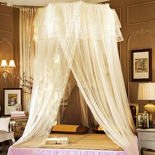 Bett moskitonetz baldachin voll queen kingsize netting-bettwäsche-beige 150x200cm(59x79inch) (Queen-baldachin Netting)