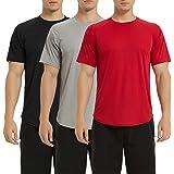 Lavenicole Men's Dry-Fit Shirts Moisture Wicking Active Athletic Tech Performance Short Sleeve T-Shirt