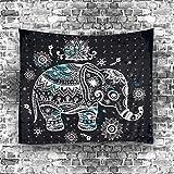 """Etopfashion Mandala Tenture tapisserie Eléphant Imprimer Chambre d'enfants Filles Garçons Dorm Accessoires Décor Chambre Bohème Literie Tapis Floral Geometry Tribal Design Collection de l'œuvre 51 W by 60"""" L"""