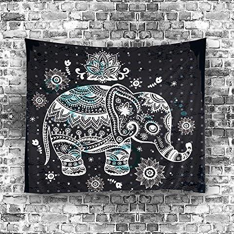 Etopfashion Mandala Tenture tapisserie Eléphant Imprimer Chambre d'enfants Filles Garçons Dorm Accessoires Décor Chambre Bohème Literie Tapis Floral Geometry Tribal Design Collection de l'œuvre 51 W by 60