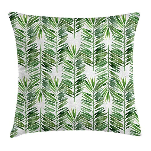 Cupsbags Palm Tree Decor Throw Pillow Cushion Cover by, Watercolor Tropical Tree Branch Evergreen Leaf Featured Artsy Plant Lush Design, Decorative Square Accent Pillow Case, Green24 Patterned Magnolia Branch