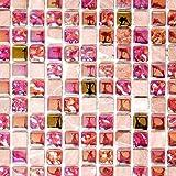 Mosaik Fliese Transluzent rot rosa gold Glasmosaik Crystal Stein EP rot rosa gold für BODEN WAND BAD WC DUSCHE KÜCHE FLIESENSPIEGEL THEKENVERKLEIDUNG BADEWANNENVERKLEIDUNG Mosaikmatte Mosaikplatte