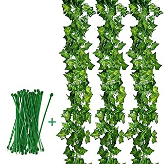 Aibesser 12 Pack&2.2M Artificial Ivy Leaf Garland Plastic Fake Hanging Vine Plant Vine for Garden Wedding Party Wall Decoration