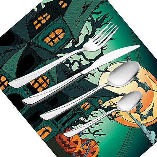 30-teiliges Besteckset, Halloween-Garnitur Geschirr Besteckset aus rostfreiem Stahl für 6 Personen, einschließlich Messer, Gabeln, Löffel, Teelöffel und Tischset, Haunted Medieval Theme Cartoon