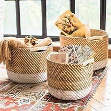 SUN-Cesta de lavandería de mimbre tejida de alta calidad Artesanías 100 y naturaleza Wicker , Set of 3