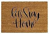 Liveinu Kokosfaser Schmutzfangmatte Fußmatte Türvorleger Sauberlaufmatte Fußabstreifer für Haustür Innen und Außen 50x100cm Let's Stay Home