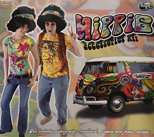 Elope - Kit de accesorios para disfraz de hippie con peluca, gafas, collares, cinta para niño