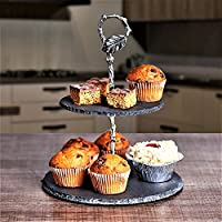 ARIANA HOMEWARE© Mini Slate 2 Tier Cake Stand Natural Slate, Glass, Ceramic