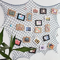 Fishing Net Photo & Artwork Hanging Display - Family Pictures Children Artwork and Painting Display - Home Party Bedroom Wall Decorations - Multi Picture Frames Collage Decor (with 40 Clip),C