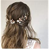 IYOU diadema nupcial con diseño de flores y perlas vides de pelo de hojas accesorios para el cabello de novia para mujeres y