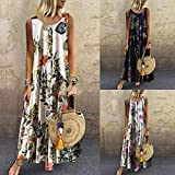 Hybreace Women Bohemian Long Dress O-Neck Floral Sleeveless Maxi Dress Plus Size for Summer