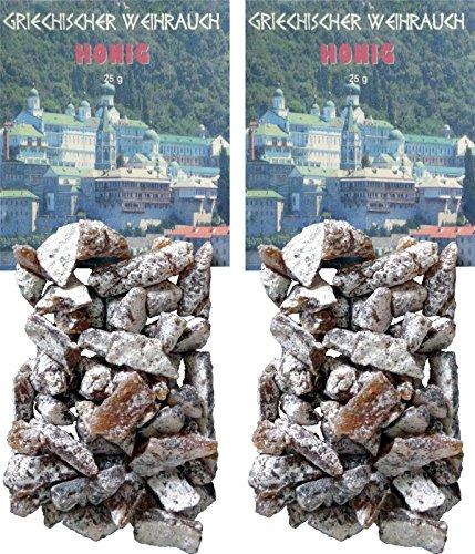 Honig-weihrauch (Trimontium GWR03-P2 Räucherwerk - griechischer Weihrauch Stücke Honig 2 x 25 g zum Räuchern auf Kohle oder Sieb)