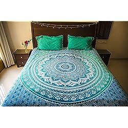 folkulture tealtastic Ombre colcha con fundas de almohada, indio tapiz colgar en la pared, manta de Picnic, o Hippie bohemio playa manta, Hippy Mandala, azul para cama tamaño Queen floral spread