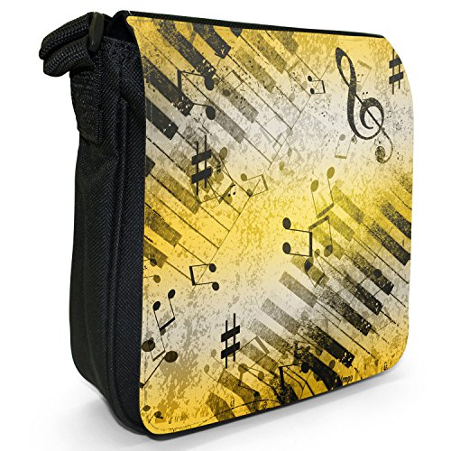 Vintage grunge Music Notes piccolo nero Tela Borsa a tracolla, taglia S Music Medleys With Notes