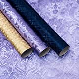 Giftisimo luxuriöse Reliefgeschenkpapiere – Design: lila Barock, dunkelblaue Karo, goldene Ziegel, Ein Set von 3 Rollen (1,5m x 70cm)
