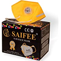 SAIFEE Yellow N-95 Face Mask -Re-usable,Non-woven with Melt Blown Layer - (Pack of 4)