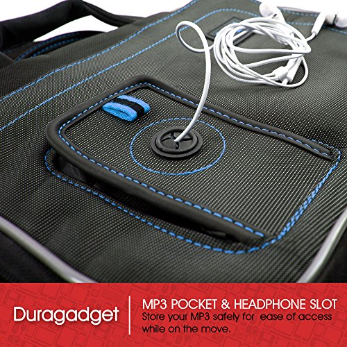 DURAGADGET Portable Blue & Black Compartment Carry Case For Barnes & Noble Nook HD+ Tablet, With Multiple Storage Pockets & Shoulder Strap