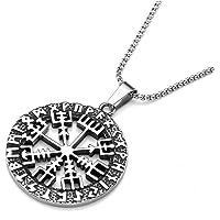 Zysta Collana Unisex in Acciaio Inox con Ciondolo Vegvisir Talismano Islandese di Protezione Compasso runico Catenina da…