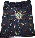 Trendige Jeans Umhängetasche mit Stickereien 16x18 cm, Magnetverschluss (Stickereimuster 4)