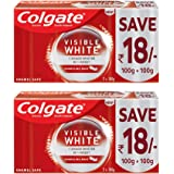 Colgate Visible White, Teeth Whitening Toothpaste, 400g, 200gm x 2 (Sparkling Mint, Saver Pack)
