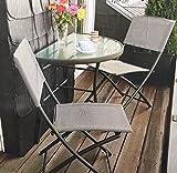 Balkongruppe Annette Klapptisch + 2 Klappstühle Balkon Tisch Stuhl Grau meliert Pulverbeschichtet Textilbezug