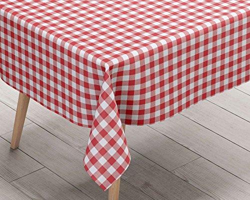 Nappe vichy rouge en PVC facile à nettoyer, nappe de cuisine idéale pour les repas, les fêtes, style rustique à carreaux, nappe rouge et blanche, Red, 137cm x 180cm
