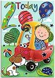 Geburtstagskarte für zwei (2) Jahr Alten Jungen–Kostenloser 1st Class Post (UK)