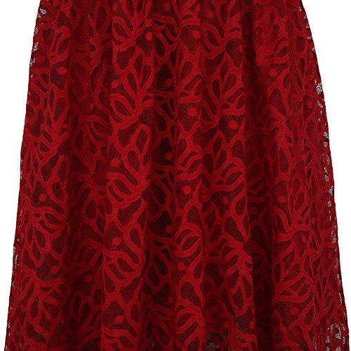 Chez BoBos Femme Robe en Lace à Bretelles Vintage Décontractée Swing Robe Casual Rouge