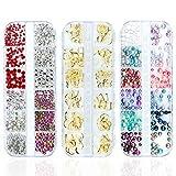 Czemo 3 Scatole 3D Arte di Unghia Decorazioni kit di strass unghie per Nail Art colorata Strass Perline Oro Metallo Rivetti per unghie decorazione