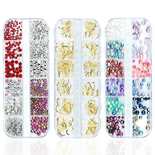 Czemo Kit de diamantes de imitación Kit de Decoraciones de Arte de Uñas 3D, 3 Cajas de Estilos Mezclados...