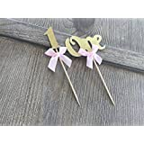 "First Birthday Cupcake Toppers Party Decoration ""1""- Gold Glitter With Elegant Pink Bows- 12CT. By Mother & Fabulous"