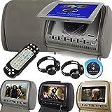 Mvpower 2X 9'' Reposacabezas para coche Reproductor de DVD Multimedia Monitor pantalla LCD Color Gris, con 2pcs Auriculares infrarrojos