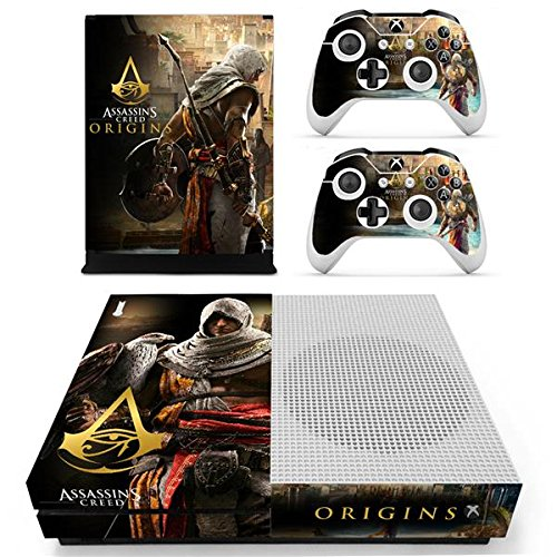 XBox One Slim + 2 Controller Aufkleber Schutzfolien Set - Assassins Creed Origins (1) /One S