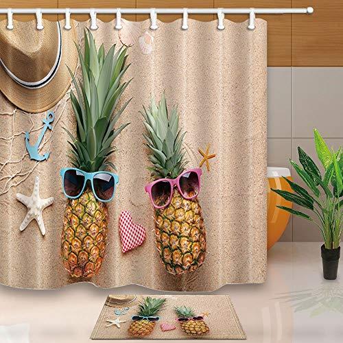GzHQ Duschvorhang, Seesternen-Dekor, reife Ananas mit Sonnenbrille am Strand, 180 x 180 cm, schimmelresistent, Polyester, mit 39,9 x 59,9 cm, Flanell-Fußmatte