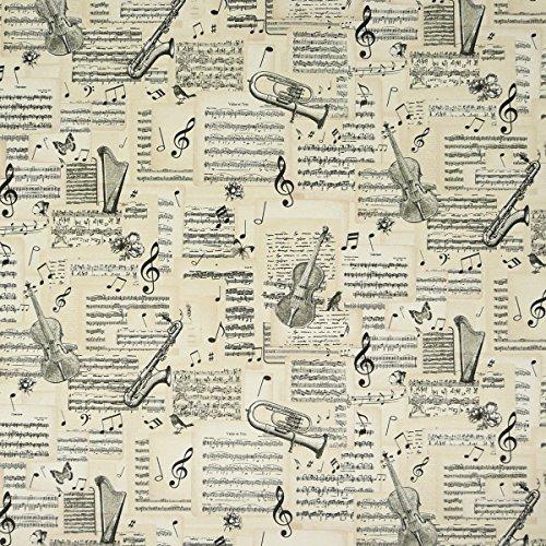 B&B Dekostoff Musik Noten Instrumente beige schwarz
