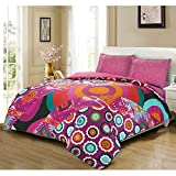 Holiday Bohemian Style Luxury Floral Moroccan Boho Hippie Cotton Blend Quilt Duvet Cover & Pillowcases Bedding Set - King