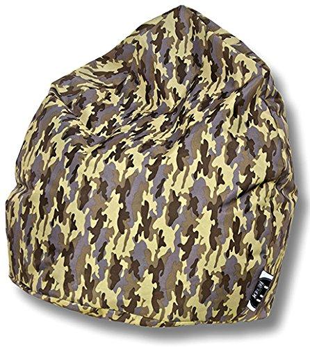Patchhome Sitzsack Camouflage Tropfenform Khaki für In & Outdoor XL 300 Liter - mit Styropor Füllung in 5 versch. Farben und 3 Größen