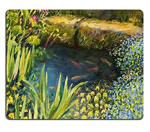 MSD Tapis de souris Image 20706931résistance aux taches kit de cuisine Dessus de table Desk C une peinture à l'huile sur toile d'une petite Tranquil Pond avec poissons et coloré Blooming 1410