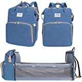 Multifunctional Diaper Bag Backpack,Foldable Baby Bed Nappy Backpacks,Baby Moms Travel Bag Large Capacity Maternity Baby Diap
