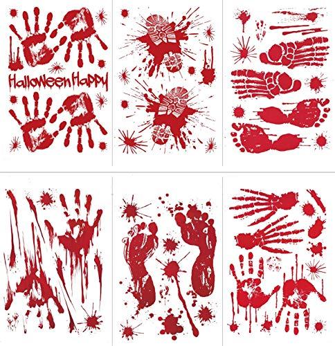 (UMIPUBO Halloween Blut-Handabdruck Sticker Elektrostatische Aufkleber Schaurig Blutige Dekoration Halloween Party Dekoration Blutiger Fußabdruck Aufkleber 6 Blatt (Halloween))