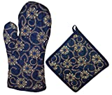 #3: Miyanbazaz Textiles Cotton Heat Proof Microwave Oven Gloves & Heating Pad Combo (Blue)