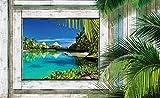 Tapeto Fototapete - Ausblick Fenster Insel - Vlies 368 x 254 cm (Breite x Höhe) - Wandbild Holzplanken Holz Palmen Tropischen Strand Meer Paradies Entspannung