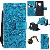 Hülle Galaxy S9 Hülle,PU Leder Flip Hülle für Samsung Galaxy S9 Tasche Case Cover Schutzhülle Handyhülle (Blau)