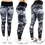 Formbelt® Laufhose Damen mit Tasche lang - leggins stretch-hose Lauf-tights für Smartphone Iphone Handy Schlüssel yoga (Marmor L)