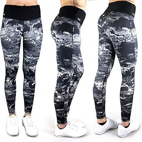 Formbelt® Pantalon de course femme avec ceinture running / running-belt - leggings / pantalon running - fitness - sport - yoga   long, imprimé (marbre / ombre noir, L)